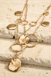 Layered Disc and Ring Necklace