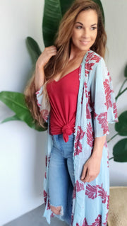 Washed Chiffon Leaves Printed Cardigan
