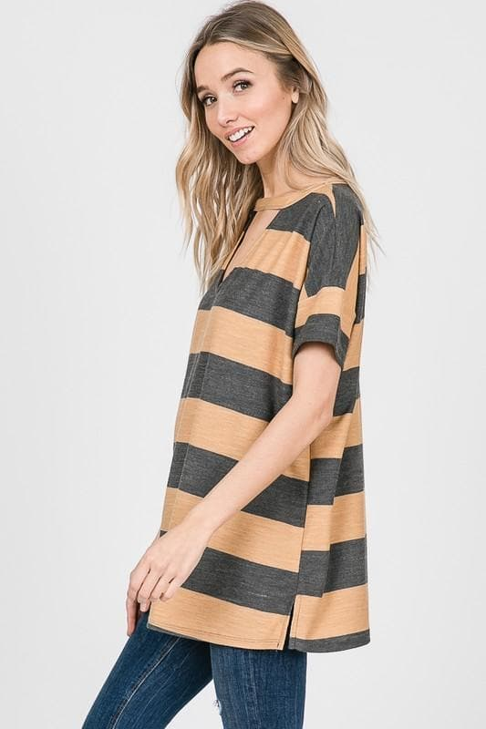 French Terry Striped Short Sleeve Choker Top