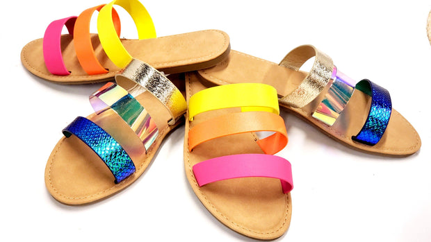 Open Toe Three Strap Casual Sandals