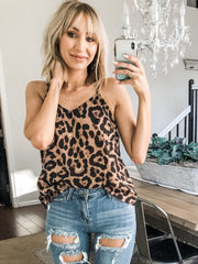 V-Neck Leopard Print Tank Top