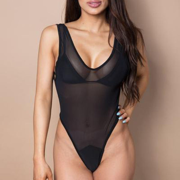 Black see-through bathing suit