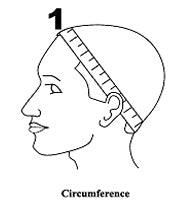 head circumference measure for a wig