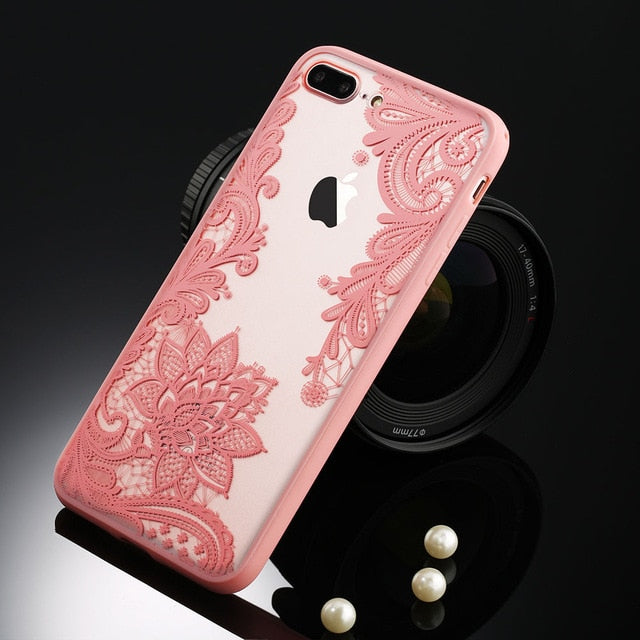 USLION Sexy Floral Phone Case For Apple iPhone 7 8 6 6s 5 5s SE Plus Lace Flower Hard PC Cases Back Cover For iPhone X XR XS Max