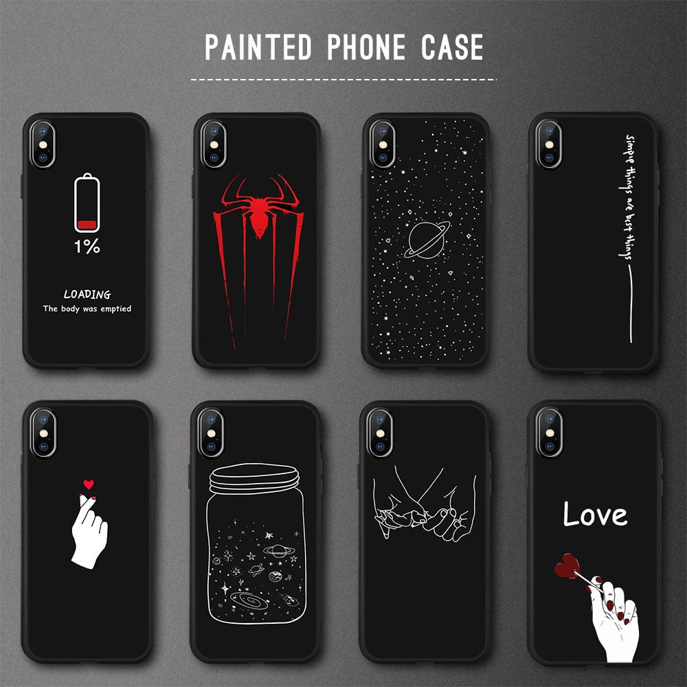 Animal Love Heart Soft TPU Silicone Cases for iPhone 5 S SE X Phone Case For iPhone 6s 6 7 8 Plus XS Max XR Coque Frosted Fundas