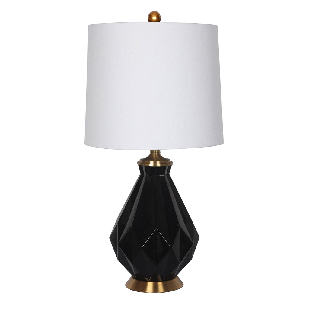 BLACK GLASS MULTI-FACETED TABLE LAMP