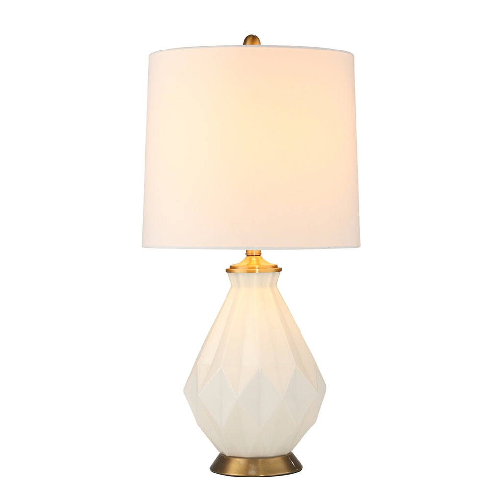 WHITE GLASS MULTI-FACETED TABLE LAMP
