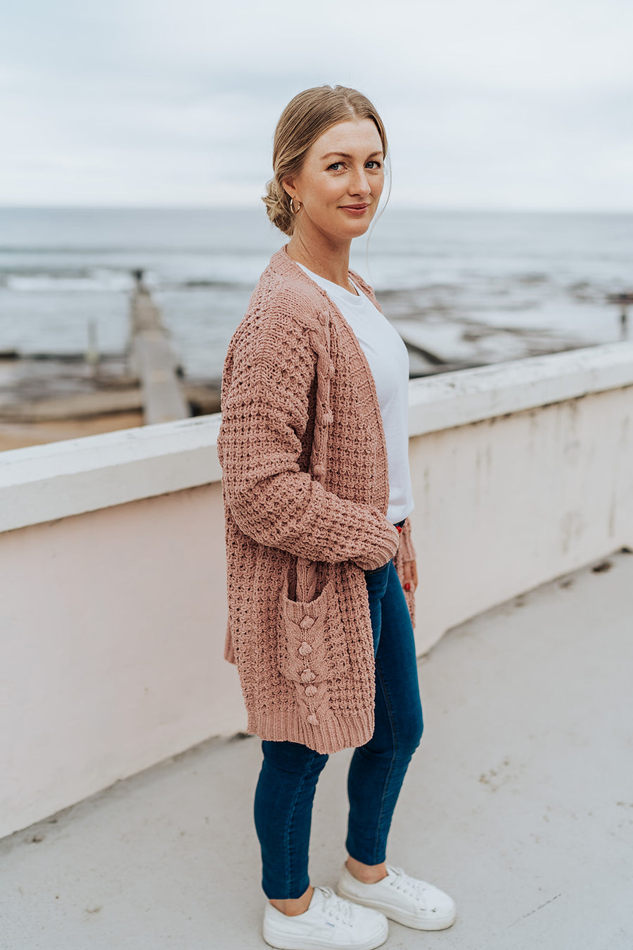 Cable Knit Blush Cardigan