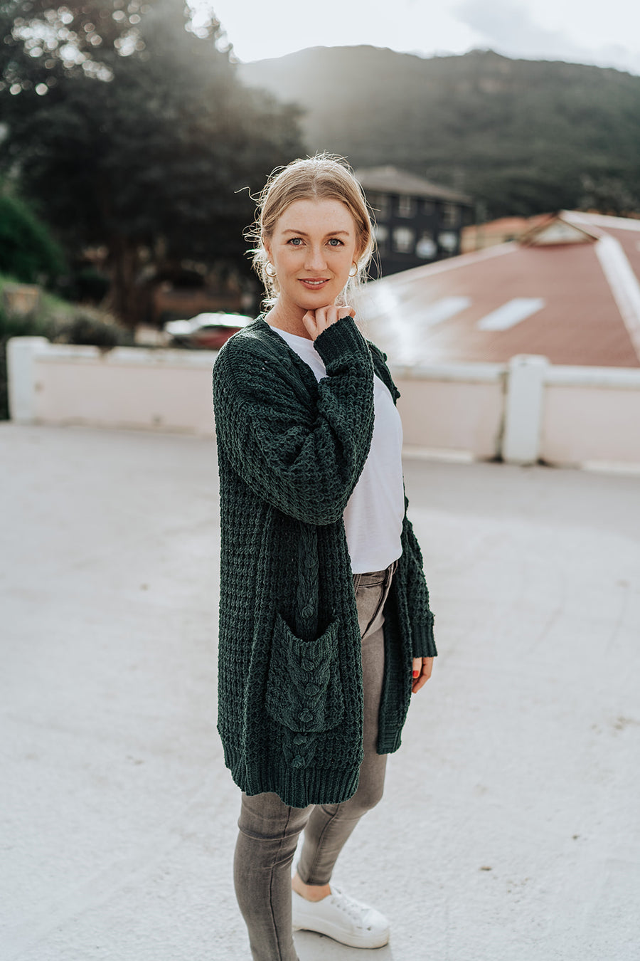 Cable Knit Emerald Cardigan