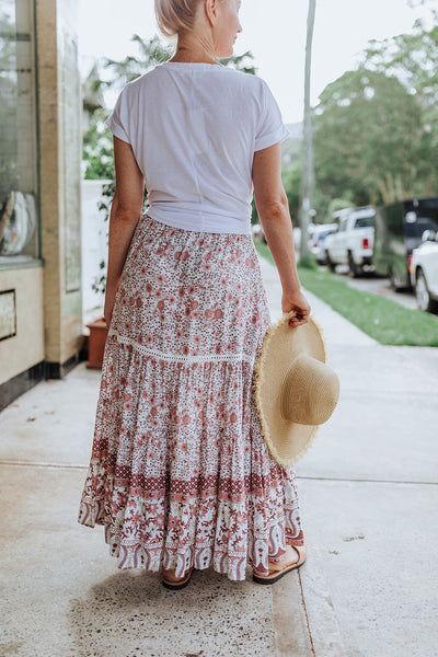 Floral Rose Maxi Skirt