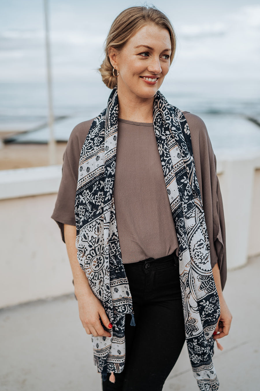Pattern Blue Scarf