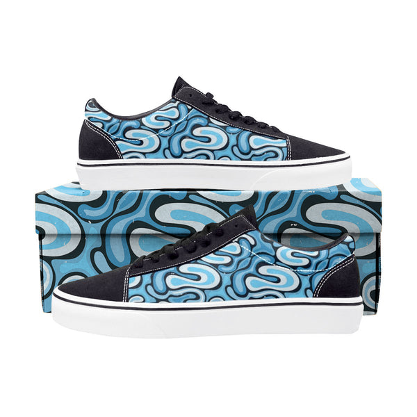 Blue Graffiti Lace-Up Suede/Canvas