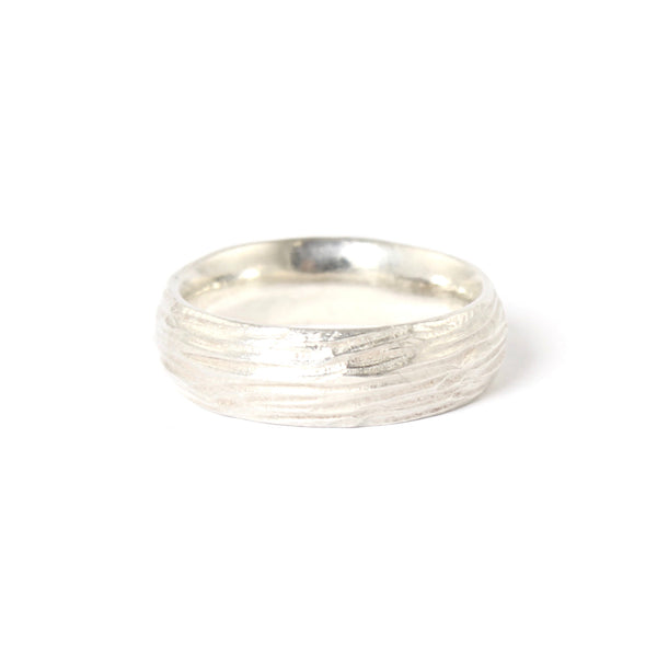 Sterling Silver Horizontal Dig Band by Dahlia Kanner - Fire Opal