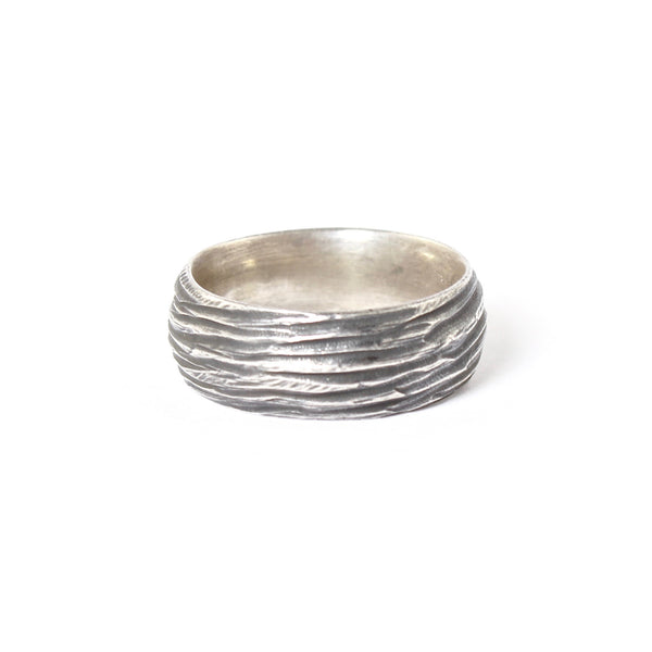 Oxidized Sterling Silver Horizontal Dig Band by Dahlia Kanner - Fire Opal