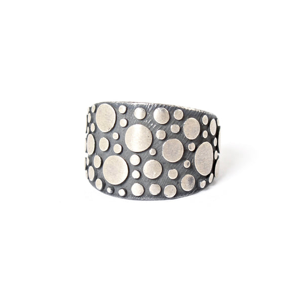 Oxidized Sterling Silver Disco Tapered Band by Dahlia Kanner - Fire Opal - 1