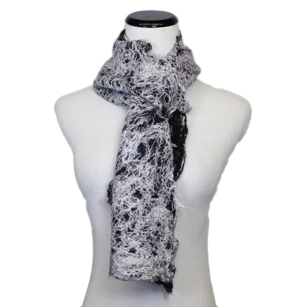 Mohair Scarf in White/Black by B. Felt - Fire Opal - 2