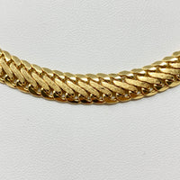 14k Yellow Gold Flat Interlocking Curb Link Chain Necklace Italy 17 Inches