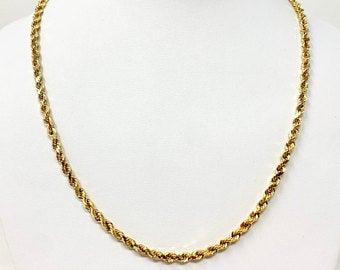 14k Yellow Gold 9.5g Hollow Diamond Cut 4mm Rope Chain Necklace 20 Inches