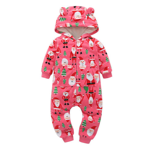Newborn baby Clothes Cotton Fleece Christmas Tree Santa Claus Print Hooded Baby Rompers With Ears Autumn Winter Baby Onesie