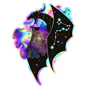 Holographic Galaxy Dragon Sticker