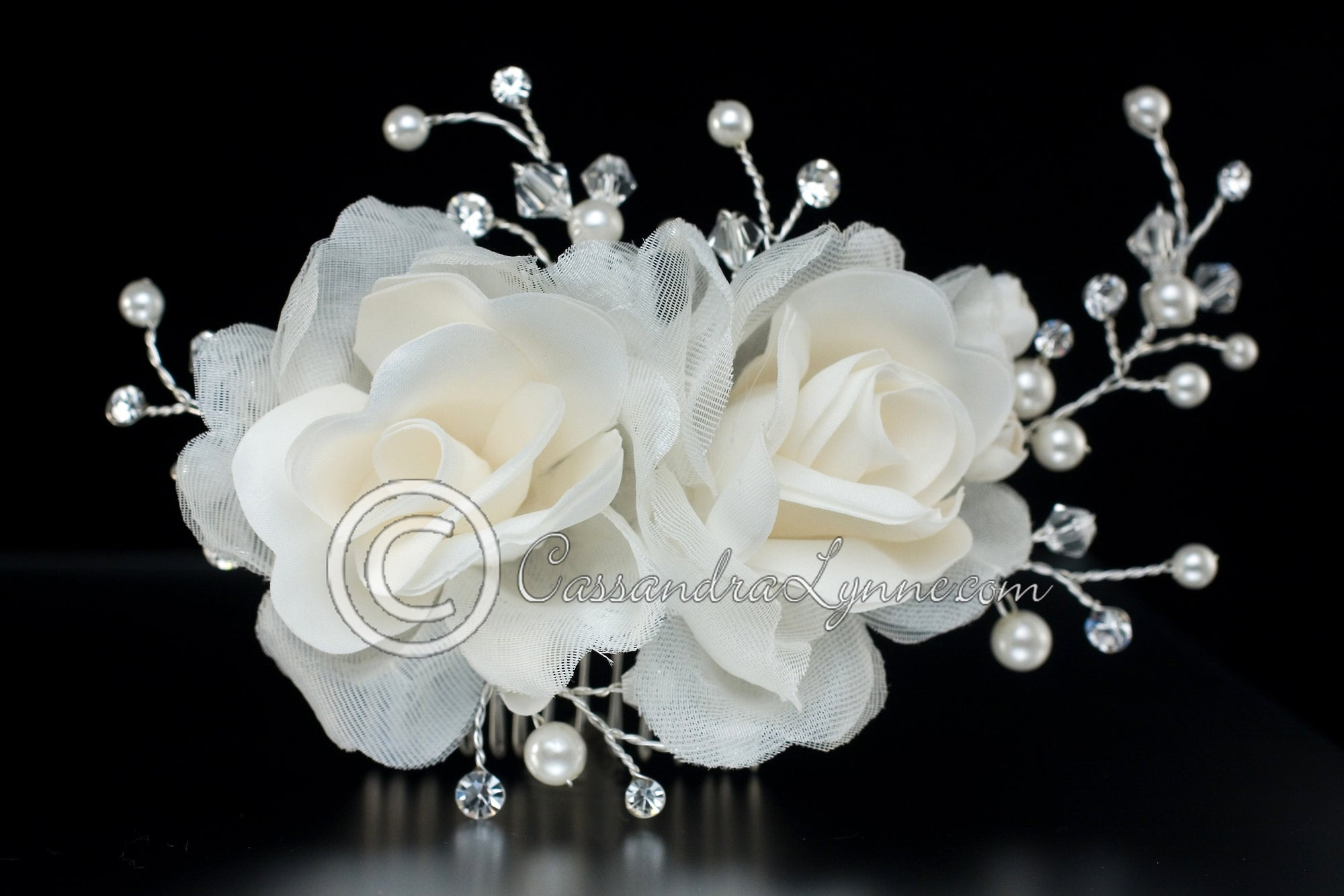 wedding hair flower with pearl and rhinestone sprays