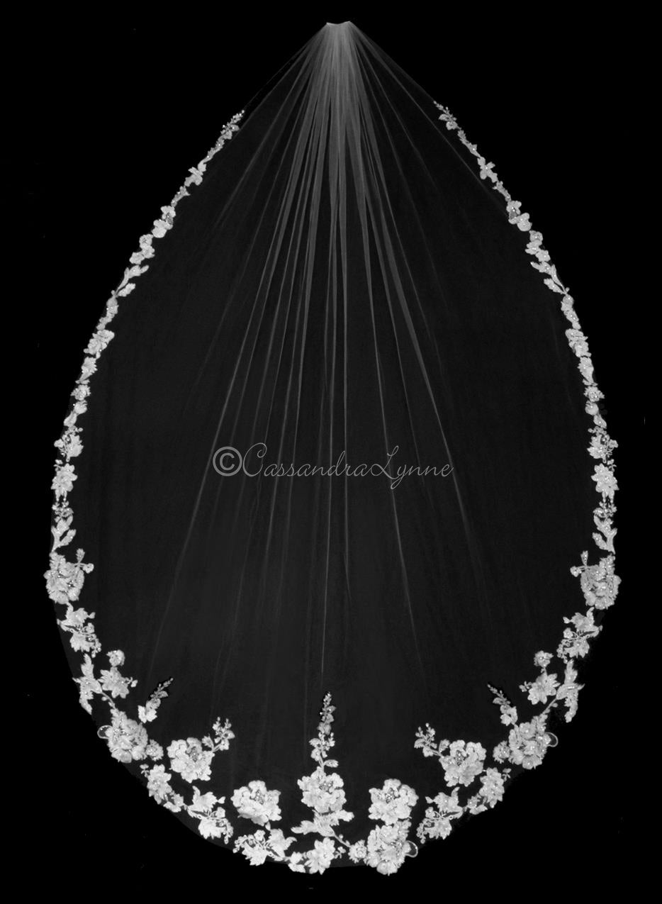 Cathedral Bridal Veil with Pearl Beads Flower Lace