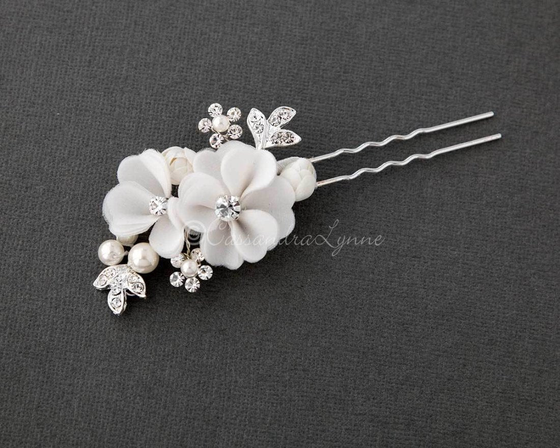 Bridal Hair Pin of Ivory Fabric Flowers and Pearls