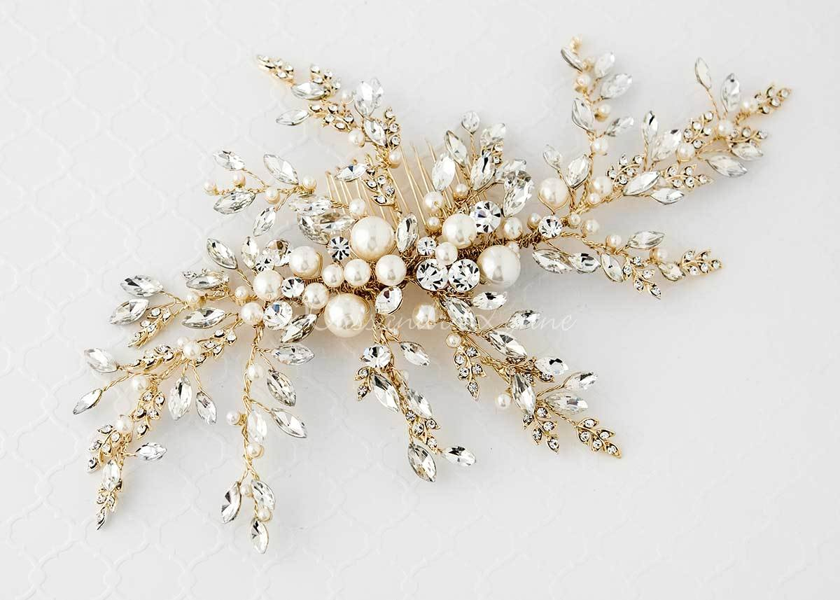 Light Gold Wedding Headpiece with Ivory Pearls Large