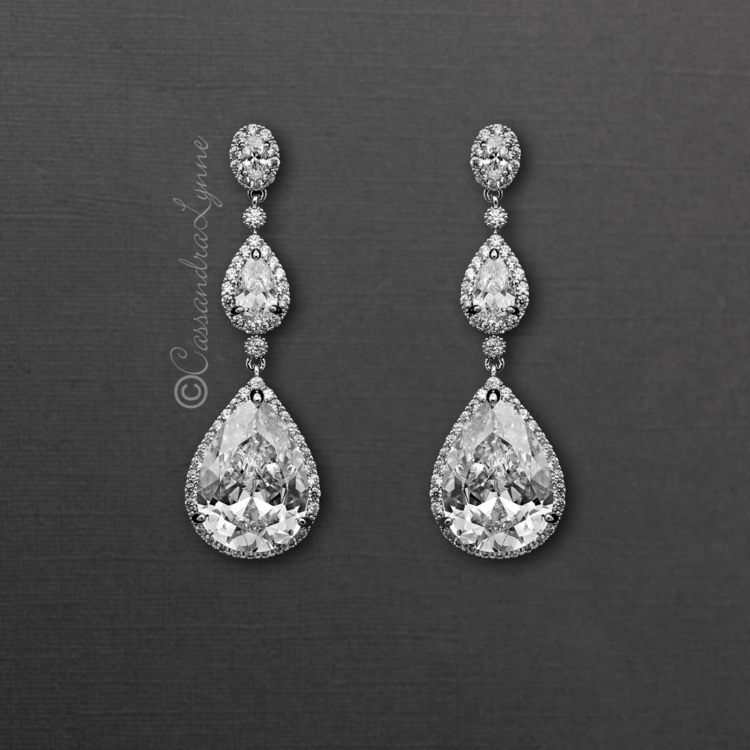 Large Waterdrop CZ Dangle Bridal Earrings