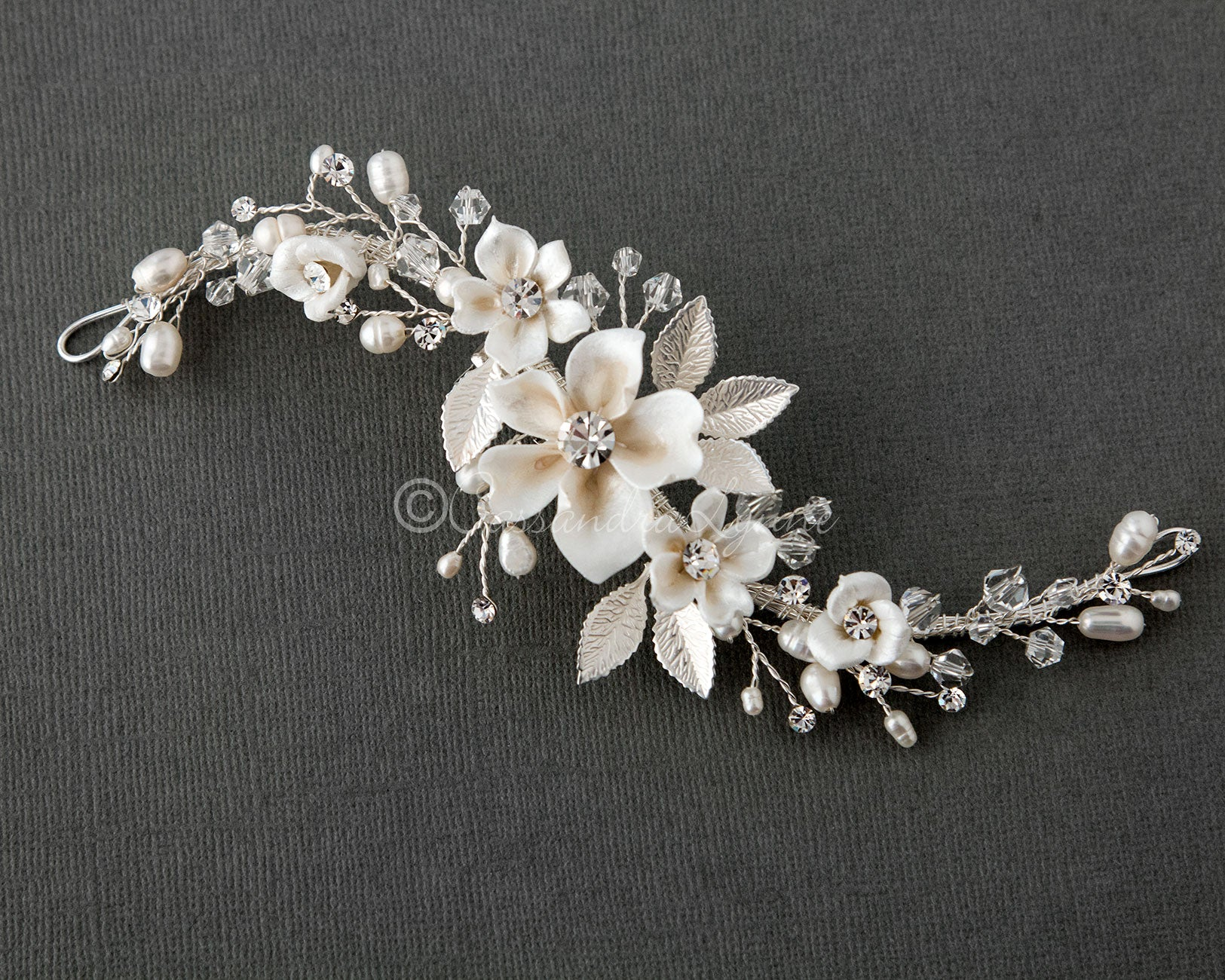 Porcelain Flowers and Pearls Hair Clip