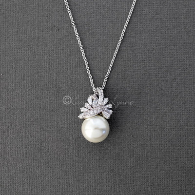 Pearl and CZ Bridal Pendant