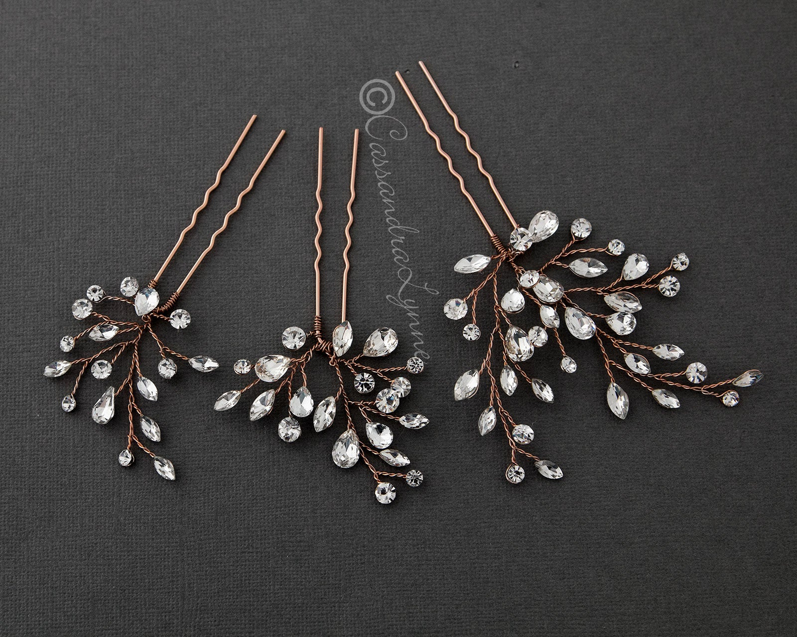 Crystal Bridal Hair Pin Set in Rose Gold