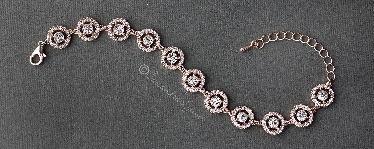 Crystal Halo Bracelet in Rose Gold