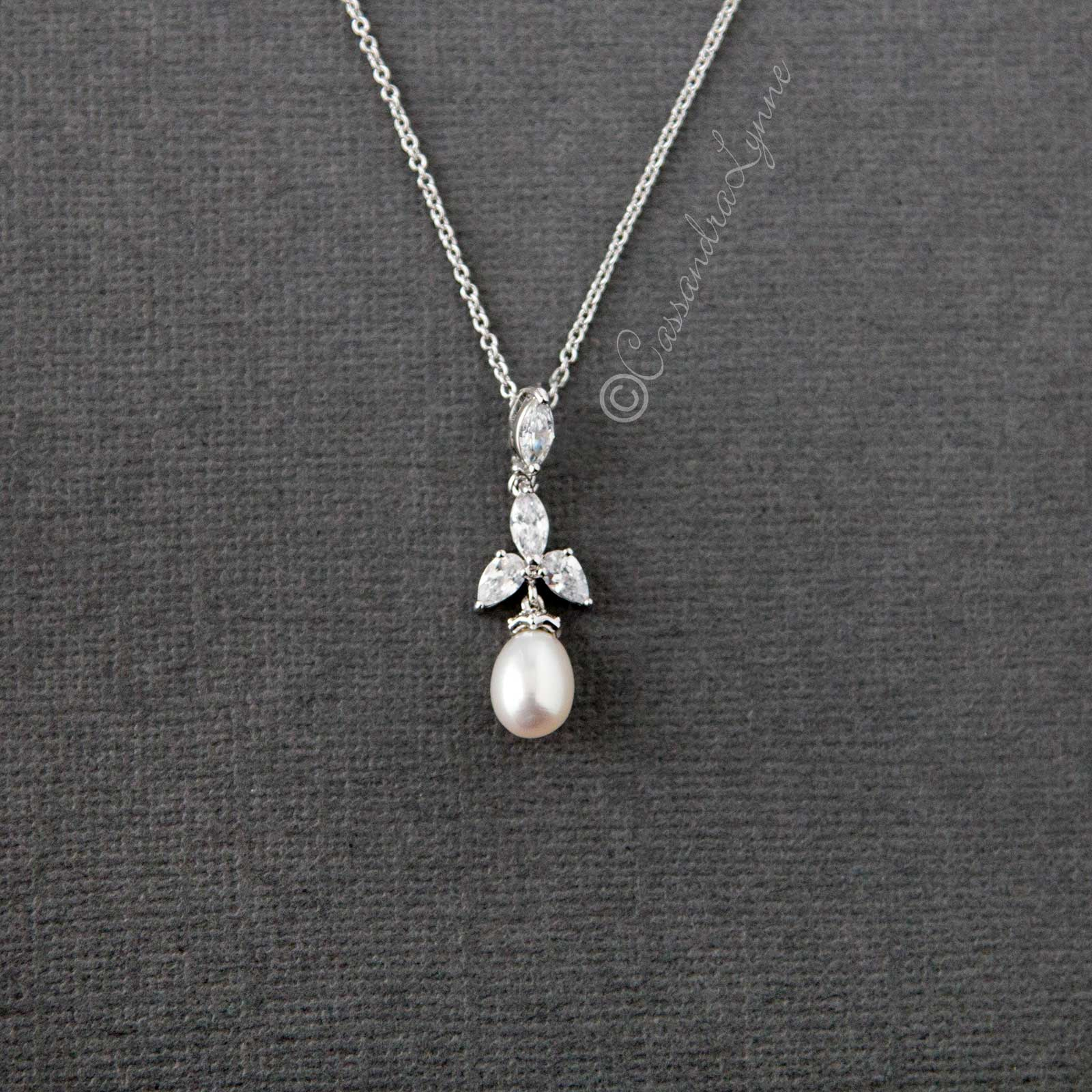 CZ Teardrop Pearl Pendant Necklace