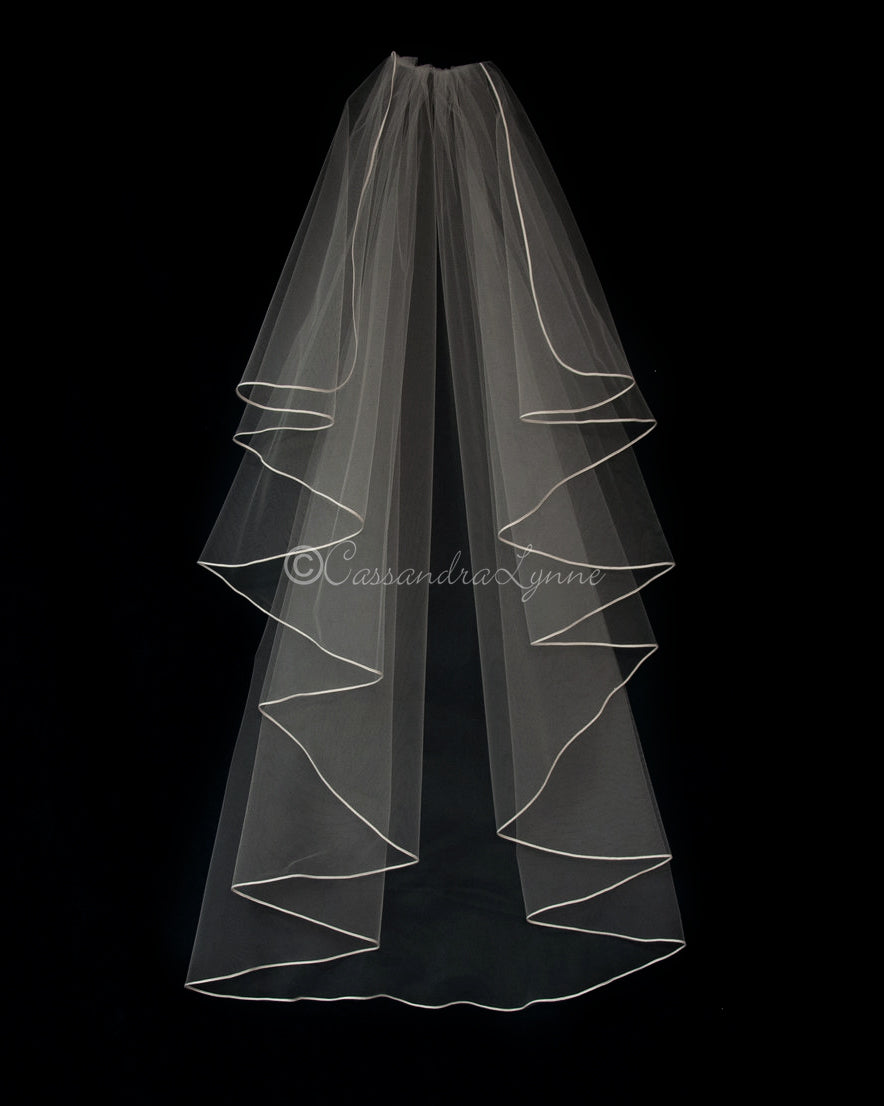 Waterfall Wedding Veil with Soutache Trim