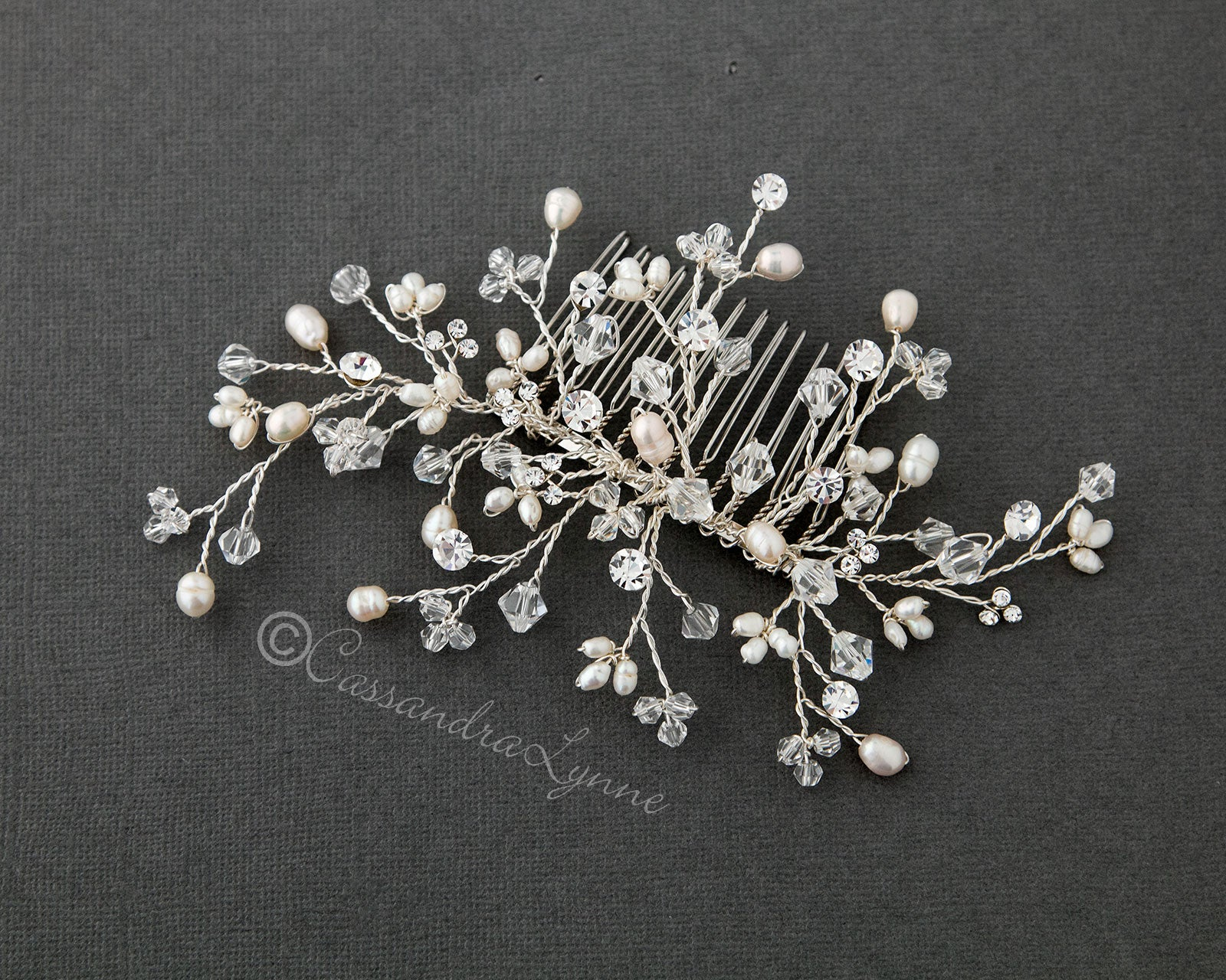 Bridal Comb Spray of Crystal and Pearls