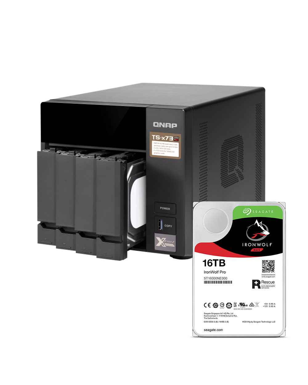 QNAP TS-473-4G 64TB with 16TB Seagate IronWolf Pro Drives