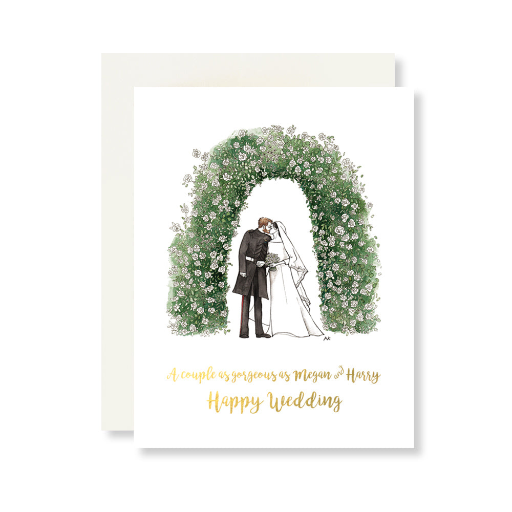 megan and harry royal wedding illustration wedding card