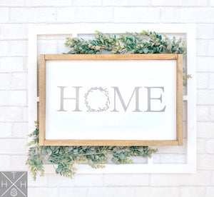 Handmade wood sign, home decor, gift, home with wreath, wreath, custom sign, home, home sign, living room decor, living room sign