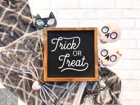 Handmade wood sign, home decor, fall decor, fall signs, Halloween decor, Halloween signs, halloween, tick or treat, trick or treat sign, candy sign, retro letters