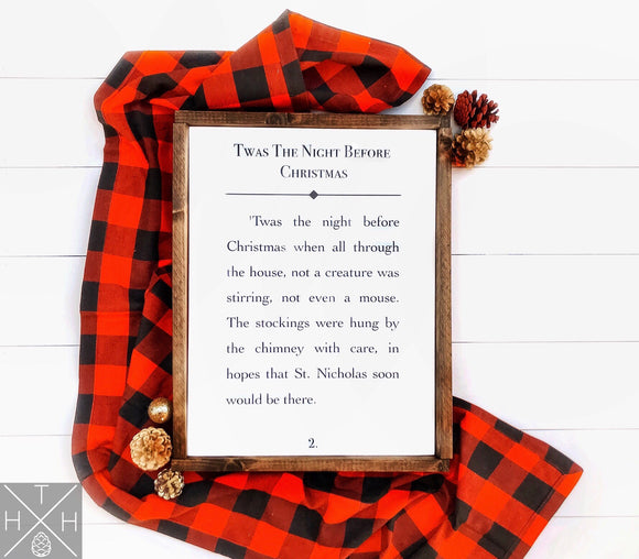 Twas the Night Before Christmas Book Page Handmade Wood Sign