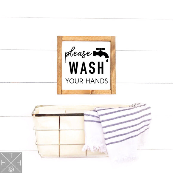 Wash Your Hands Handmade Wood Sign