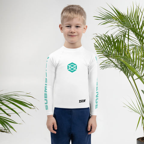 Kids/Tots White/Teal Rash Guard #subonly