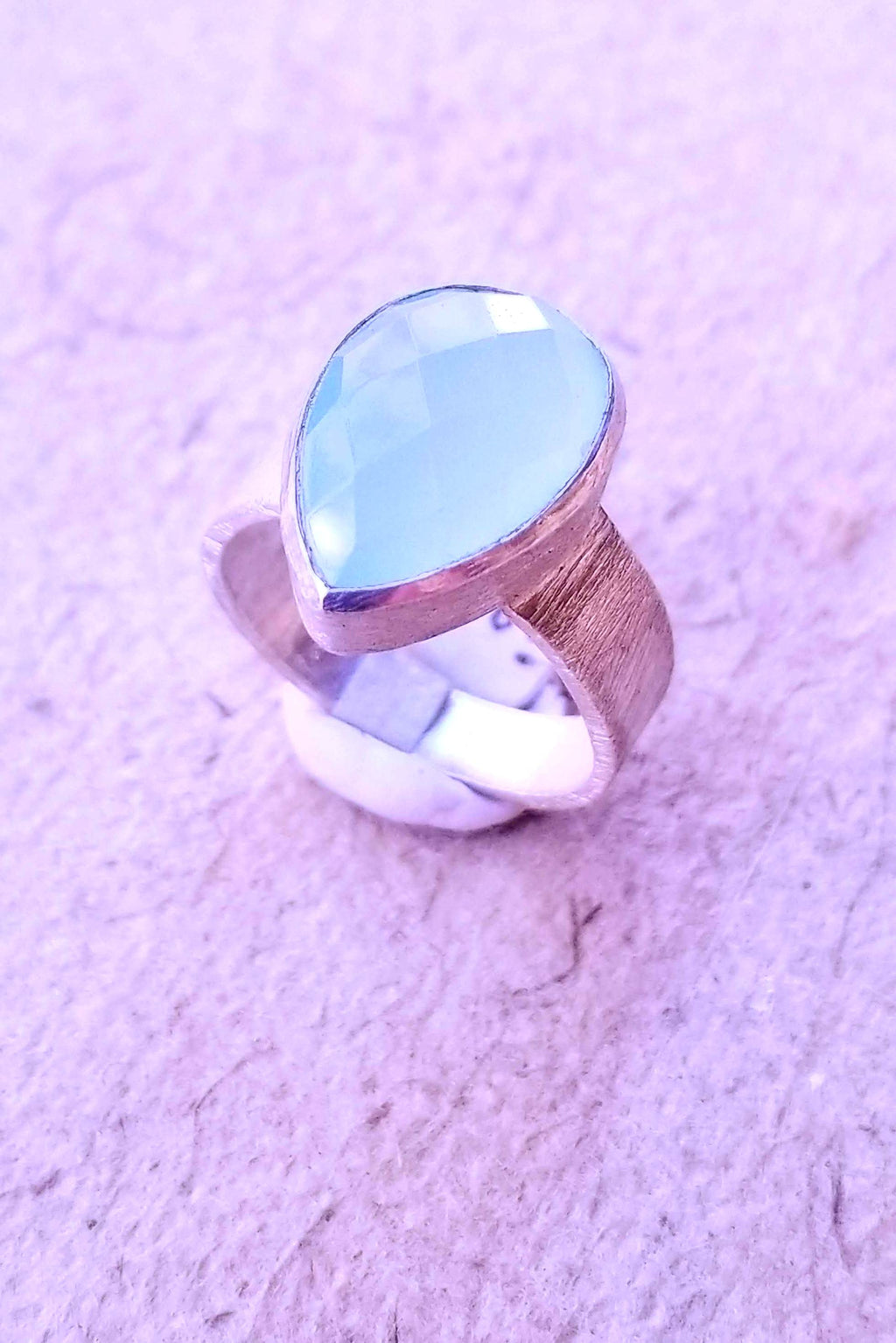 Aqua Chalcy Tear Drop Ring