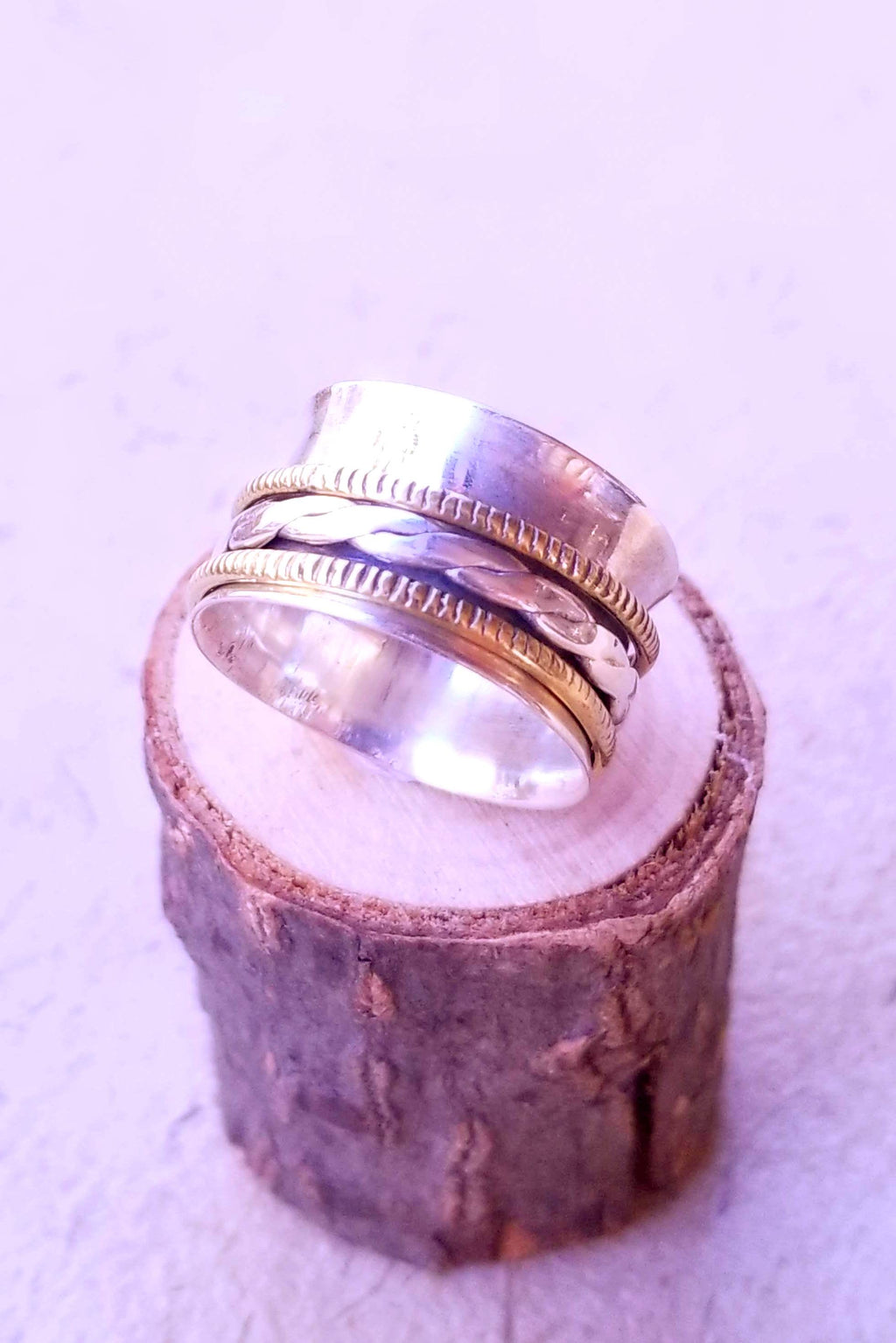 Three Ring Braided Spinner Ring