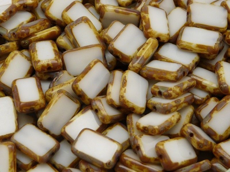 10 pcs Table Cut Beads Rectangle, 12x8mm, White Travertine, Czech Glass