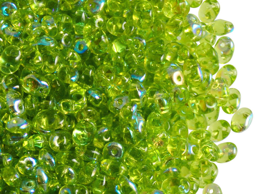 20 g 2-hole SuperDuo™ Seed Beads, 2.5x5mm, Olivine AB, Czech Glass