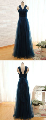 Simple A Line Straps Pleated Long Women Dark Green Tulle Prom/Bridesmaid Dresses,C0929