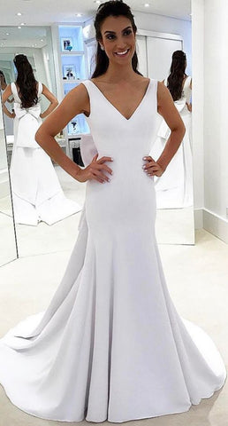 Stylish Mermaid Wedding Dresses, V Neck Mermaid Wedding Bridal Dress,E0125