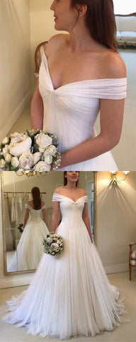 Elegant Pleated Tulle Floor Length Wedding Dresses Off The Shoulder,E0211